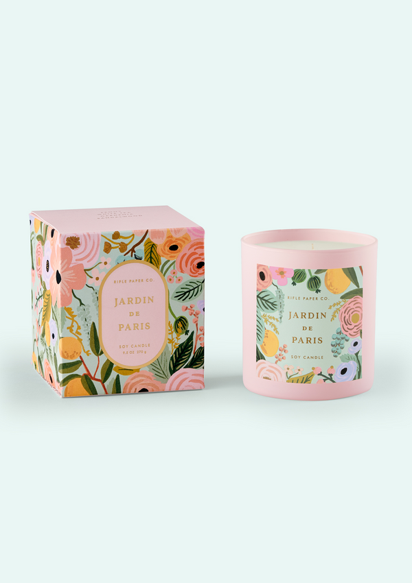Jardin de Paris Candle, layered and floral, 9.5oz soy wax candle in a painted glass vessel and is packaged in a decorative gift box with gold foil accents.