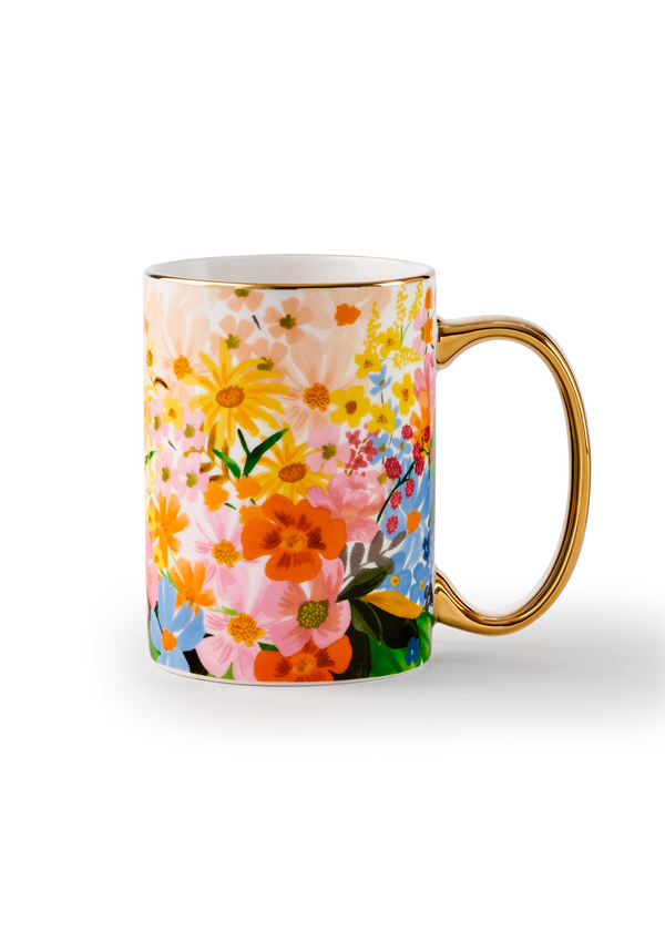 Marguerite Porcelain Mug, porcelain mug with illustrated designs and a gilded rim.