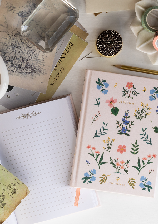 Wildwood Fabric Journal, features a hard cover wrapped in printed book cloth, lay-flat binding, a coordinating bookmark, and gold foil accents.