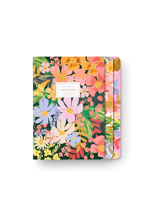 Marguerite Notebook Set, three notebooks with full-color covers, stitched binding, gold foil accents, and 64 ruled pages.