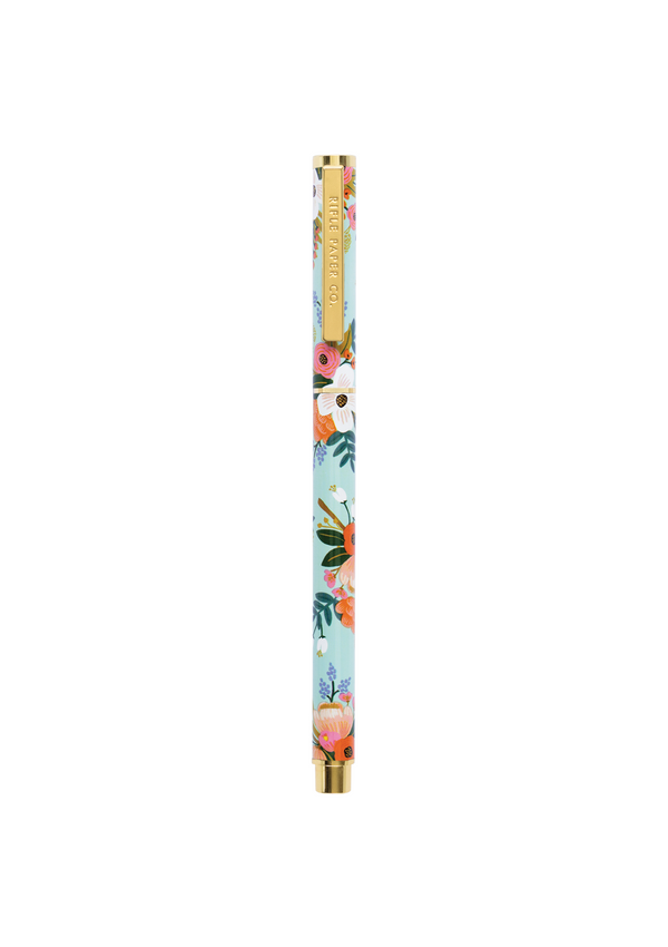 Lively Floral Pen, our comfortably weighted rollerball pen. Stainless steel body with brass accents.
