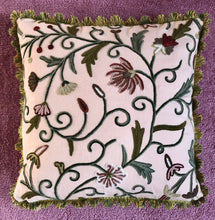 Load image into Gallery viewer, 50x50 Crewel Embroidered Floral and Silk Cushion