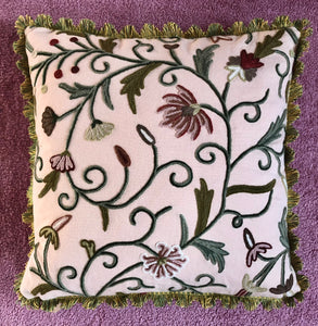 50x50 Crewel Embroidered Floral and Silk Cushion