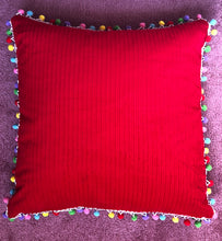 Load image into Gallery viewer, 50x50 Red corduroy & Pompom Cushion