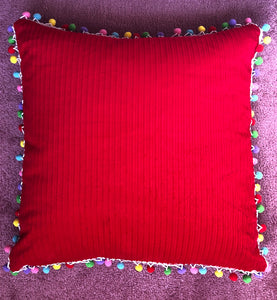 50x50 Red corduroy & Pompom Cushion