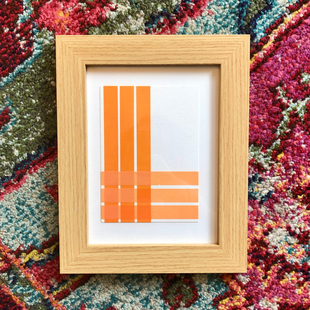 'Pastels' Linear decorative pictures in oak frame