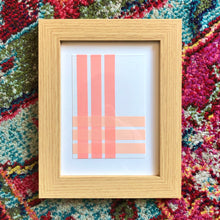 Load image into Gallery viewer, 'Pastels' Linear decorative pictures in oak frame