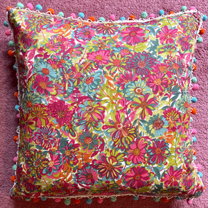 Vintage Liberty London Floral and Silk Cushion