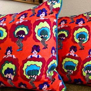 50x50 Vibrant CanCan Dancers Cushions
