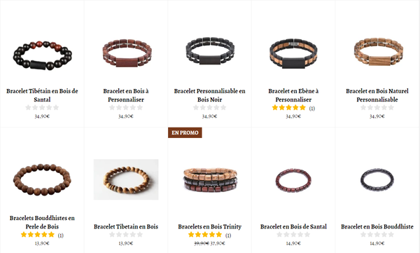 Collections de Bracelets en Bois