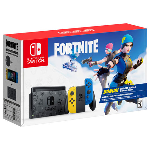 Nintendo Switch Fortnite Special Edition with Blue & Yellow Joy-Con + Wildcat Bundle + 2,000 V-Bucks