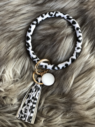 Bracelet Keychains Color White Cheetah