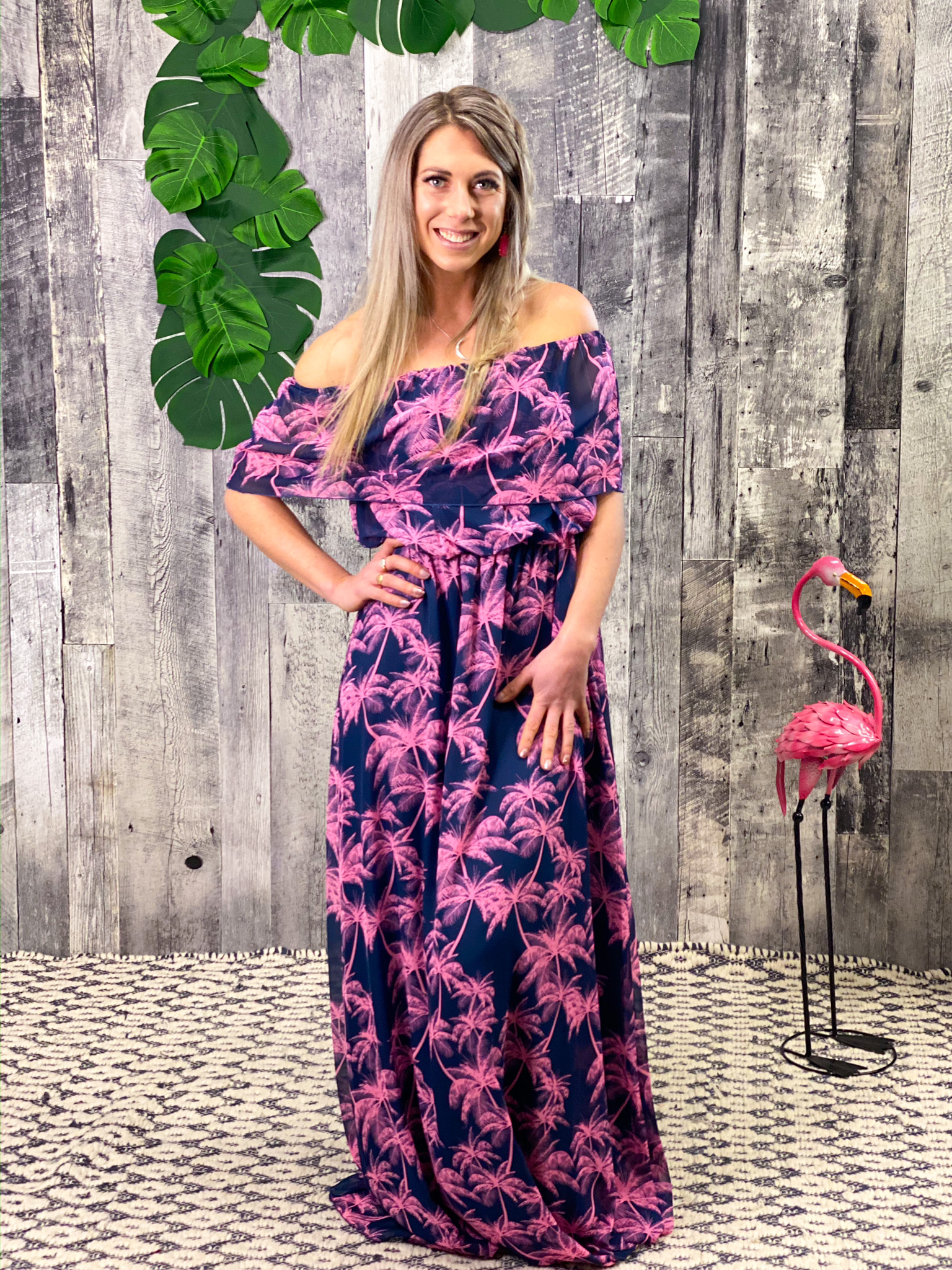 Off shoulder ruffle Navy Pink Palm Tree Dress