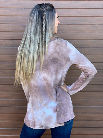 Vneck Tie Dye Sweatshirt with 3 Strap Detail - Stone (Small - 3X) - FINAL SALE