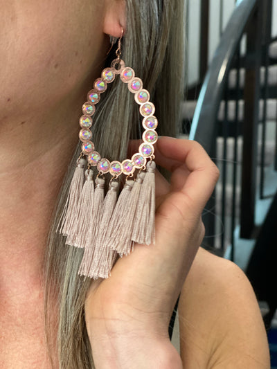Tassel Rhinestone Statement Earring - Rose Gold