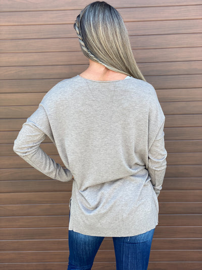 The Dreamers Vneck Sweater - Taupe