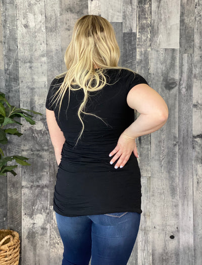 Ruched Tunic -Black - RESTOCKED