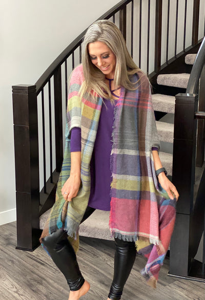 DOORCRASHER - Plaid Poncho - Fuchsia