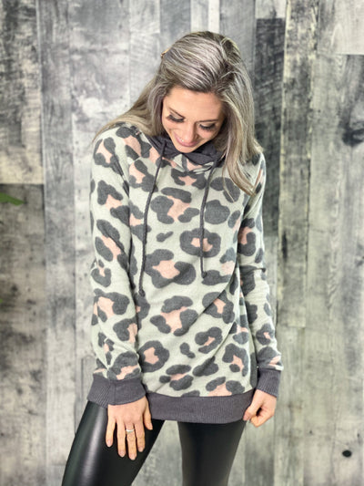 Sage Leopard Double Hoodie