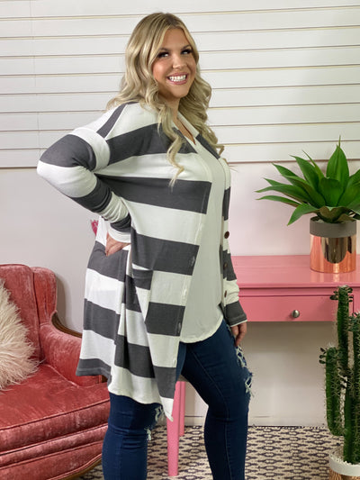 Striped Button Cardigan  - Charcoal