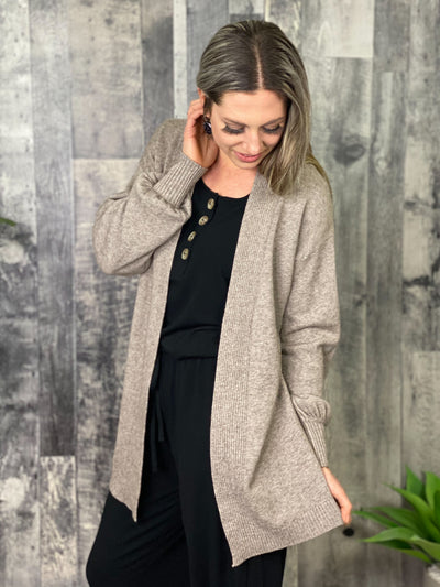 Dreamer Balloon Sleeve Cardigan - Taupe