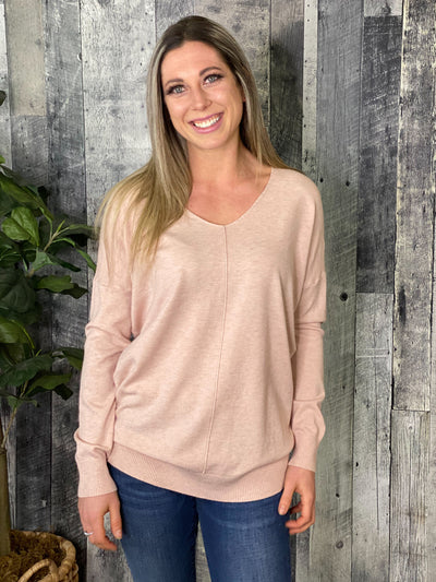 The Dreamers Vneck Sweater - Blush