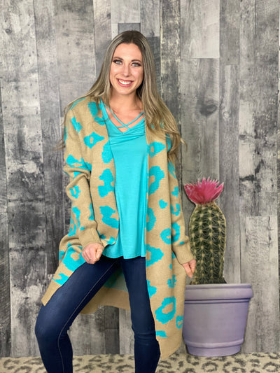 Spring Animal Print Cardigan - Teal