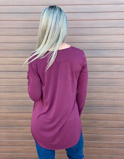Premium Vneck Long Sleeve - Burgundy