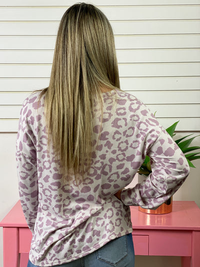 Lavender Leopard Pocket Long Sleeve