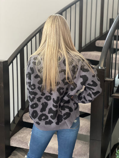 Leopard Knit Sweater - charcoal