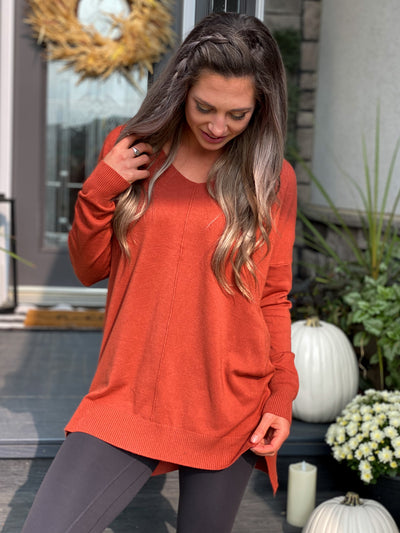 The Dreamers Vneck Sweater - Rust