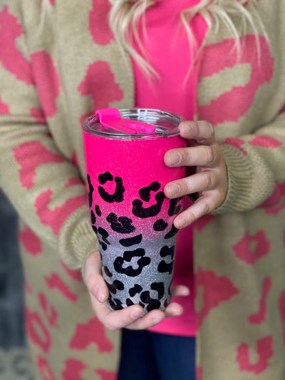 Glitter Leopard To Go Cups