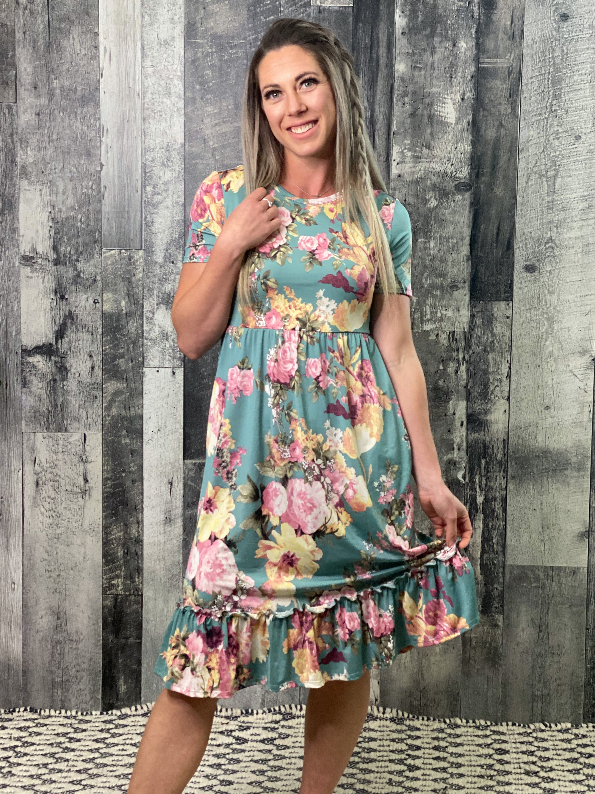Floral Ruffle Button Maxi Dress - Sage