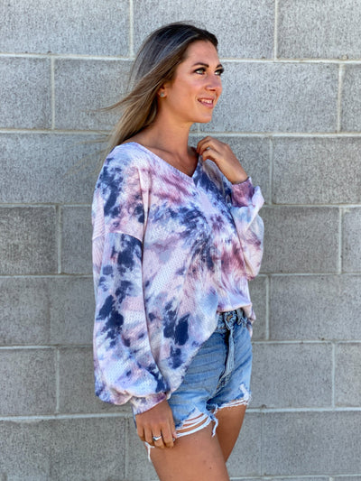 Purple and Blue Lightweight Vneck Sweatshirt - RESTOCK