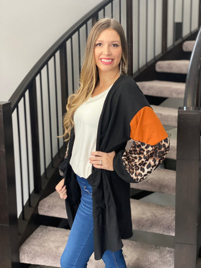 Color block ballon sleeve black and rust cardigan