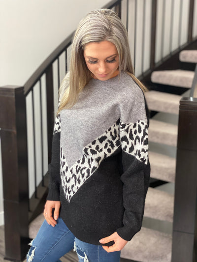 V Shape Color Block Leopard Grey Sweater - FINAL SALE
