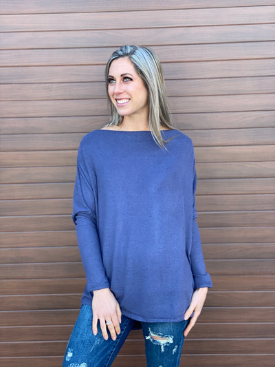 Soft Blue Dolman Lightweight Sweater
