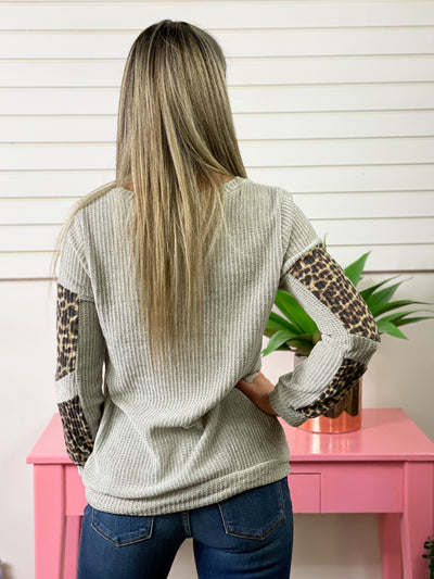Velvety Grey Sweater with Leopard Contrast Patch Sleeves