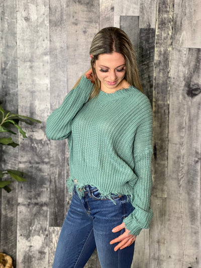 Distressed Vneck Sweater - Teal