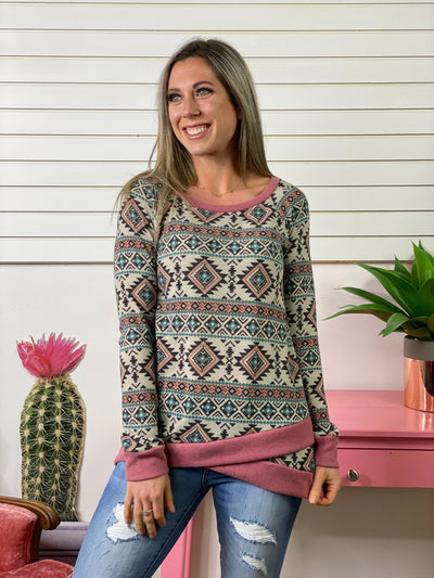 Aztec Blush and Teal Long Sleeve