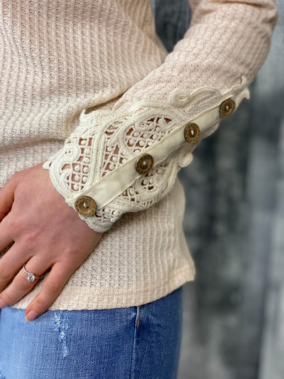 Cream Waffle Top with Crochet Sleeve Detail