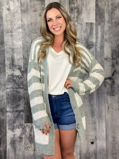 Sage and Ivory Striped Distressed Spring Cardigan