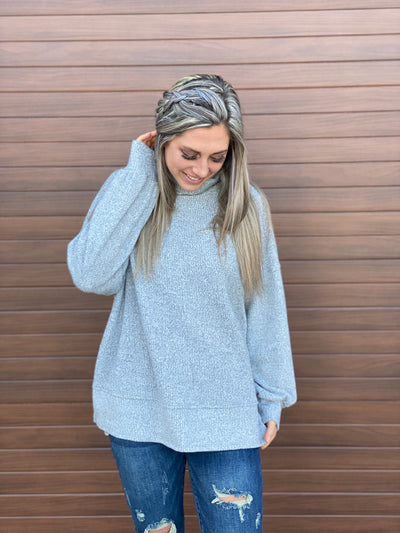 Grey Thermal Turtleneck Top