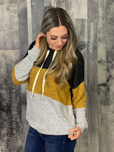 Mustard Color Block Hoodie (small -3x)