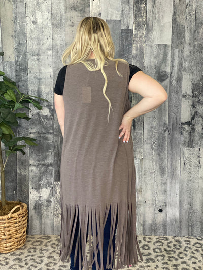 Long Body Fringe Vest