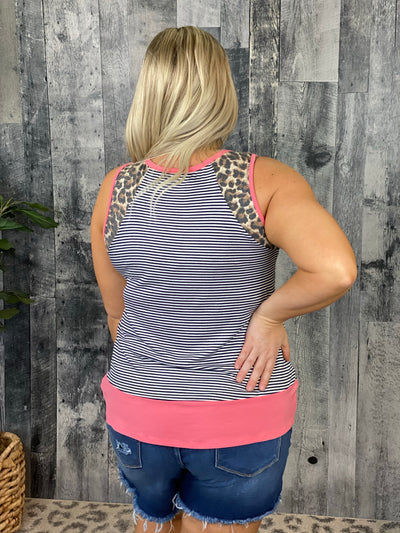 Striped Tank with Leopard and Coral Detail