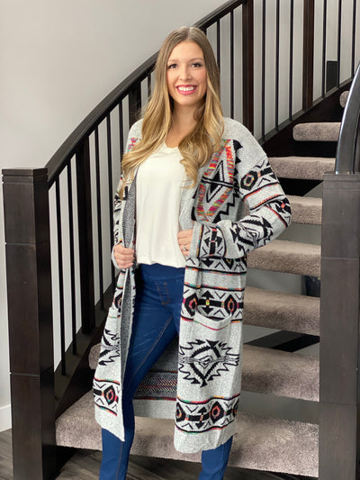 Grey and Multi Colored Aztec Cardigan
