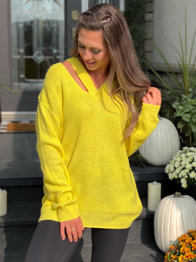 Open Shoulder Detail Sweater - Sunshine Yellow - FINAL SALE