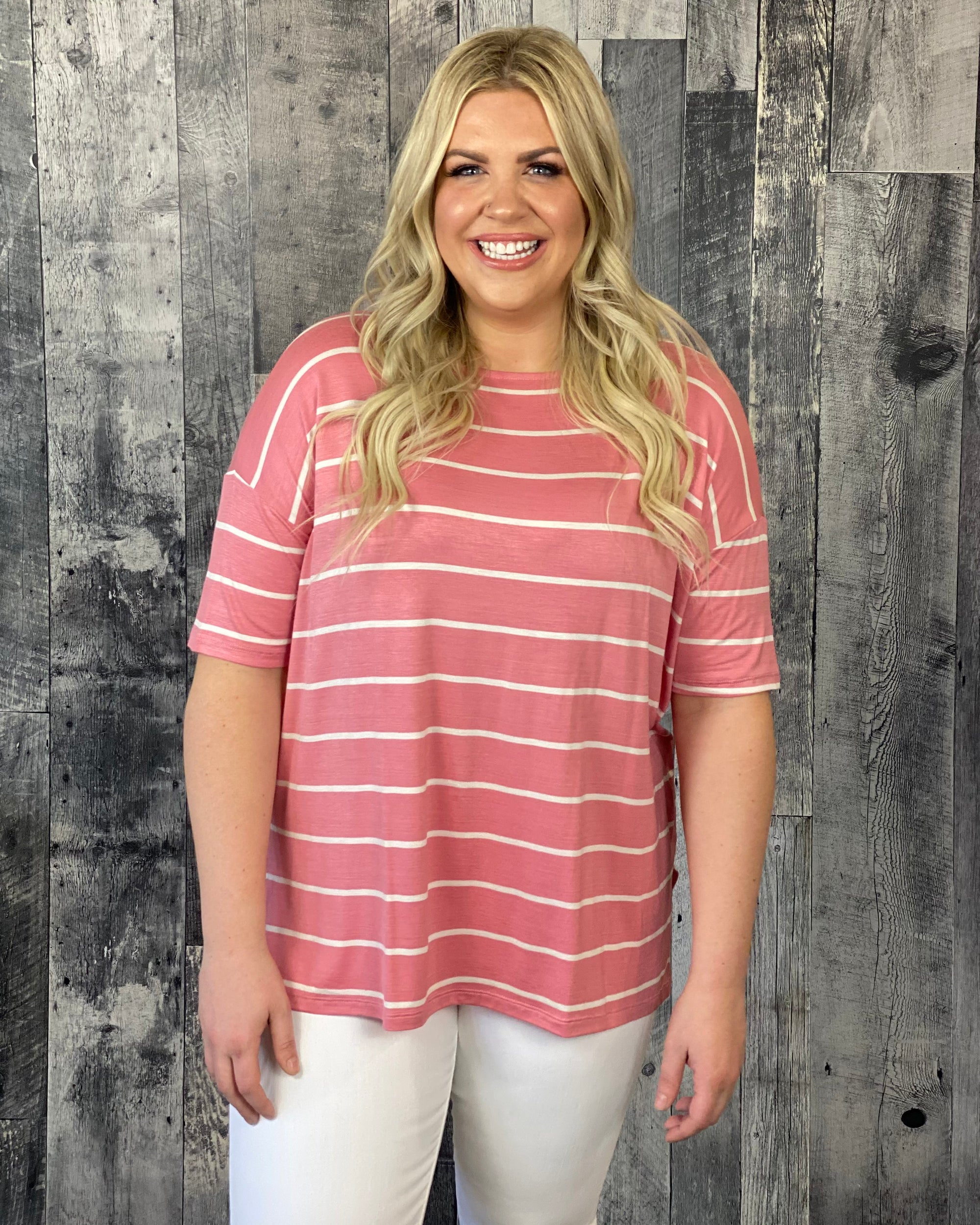 Jersey Shift Style Striped Top - Blush