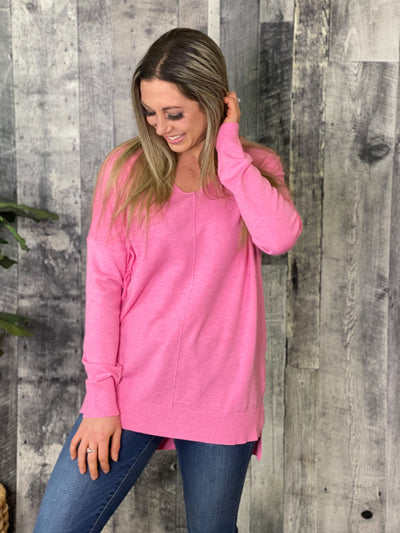 The Dreamers Vneck Sweater - Hot Pink